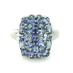3.00 ct tw Tanzanite Sterling Silver Cushion Shape Ring Size 6 577T #Jpjewels8 #Cluster