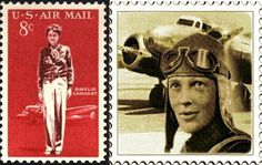 celebrity stamps | Amelia Earhart famous female aviator on postage stamps