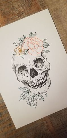 Skull art Floral skull wall art It is possible to work while using pencil drawing technique being a single color. Cool Art Drawings, Pencil Art Drawings, Art Drawings Sketches, Tattoo Drawings, Cool Skull Drawings, Kunst Tattoos, Body Art Tattoos, Small Tattoos, Irezumi Tattoos