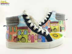 Casual Fashion Shoes for girls - Hand Painted Sneakers with colorful buildings and sunflowers -facebook: Lulush.Shoes