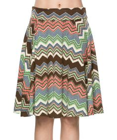 Look at this #zulilyfind! Brown & Green Zigzag A-Line Skirt - Plus by A La Tzarina #zulilyfinds