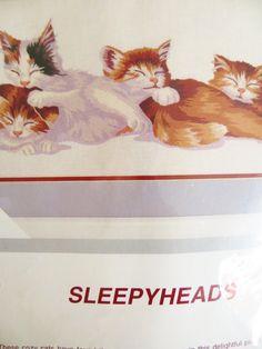 Sleepyheads Crewel Embroidery Kit, Sleeping Kittens Cats, Glenna Hartwell, Wool…