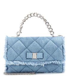 SALVATORE FERRAGAMO Gelly Quilted Denim Shoulder Bag. #salvatoreferragamo #bags #shoulder bags #leather #denim #lining #