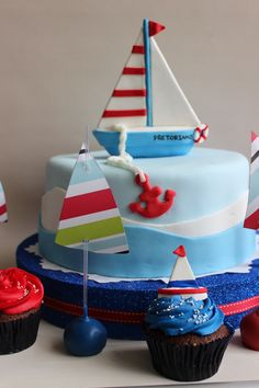 Sail Boat Cupcakes by Violeta Glace