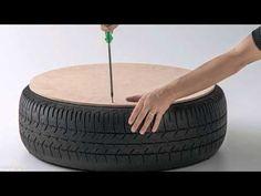 Como hacer un sillón rústico con un neumático usado - YouTube
