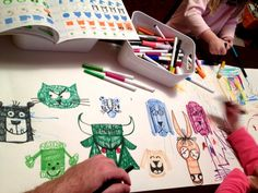 Let's all draw. Keith Tatum & Co. Ed Emberley, Mixed Media, Character Design, Draw, Let It Be, Artwork, Kids, Young Children, Work Of Art