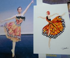 Her lovely quilled dancer on right, and her inspiration piece on left - by Deb Booth of Quilling Plus
