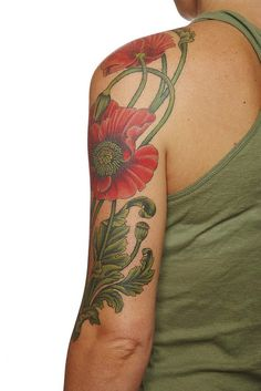 Another view of Gordon Comb's poppy tattoo!