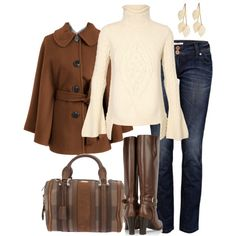 """""""Browns and Cream"""" by averbeek on Polyvore.  i love the sleeves on the sweater."""