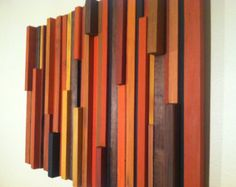 Wood Wall Art Orange Vertical Wall Art, Reclaimed Wood, Home and Living, Home Décor
