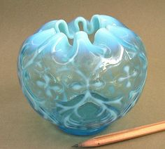 Victorian NORTHWOOD GLASS Spanish Lace ROSE BOWL Opaline Brocade Opalescent VASE