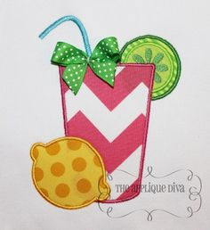 Summer Lemonade Embroidery Design Machine Applique.