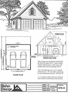Amazon.com: Garage Plans: Colonial Style 2 Car, SUV Sized Garage Plan 676-8 - 26' x 26' With Attic Truss Roof - (4) Copies Of Plans: Home & Kitchen