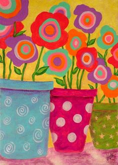 Folk Art Abstract Flowers Original di johnblakefolkartist su Etsy
