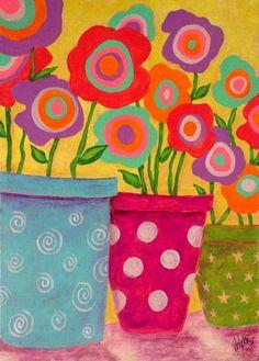 Folk Art Abstract Flowers Original Painting --J BLAKE