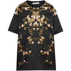 Givenchy Floral-print silk-satin T-shirt (72,530 PHP) ❤ liked on Polyvore featuring tops, t-shirts, dresses, shirts, black, t shirts, black shirt, print t shirts, floral t shirt und flower shirt