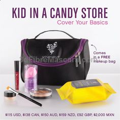 Stiff Upper Lip Lip Stain, Splurge Cream Shadow, Cream Shadow Brush, Beachfront Bronzer, Set of Blending Buds, Shine Eye Makeup Remover Cloths, Younique makeup bag.