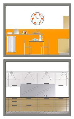 Sistemazione interna e arredo appartamento - Prospetti cucina - Maria Teresa Azzola Designer - Cesano Boscone (MI) 2006