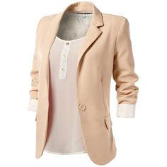 J.TOMSON Womens Boyfriend Blazer ($18) ❤ liked on Polyvore featuring outerwear, jackets, blazers, tops, shirts, beige boyfriend blazer, beige jacket, boyfriend blazer, boyfriend jacket and beige blazer