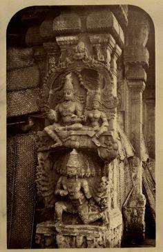 Sculptures+of+Rama,+Sita+and+Ravana+in+a+Temple+-+Madura+c1880's