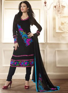 Black faux georgette and viscose churidar kameez with dupatta.      Work - Lace work, Thread Embroidery and Resham.      It is paired with a matching bottom along with a fabulous dupatta. Approx $84.73