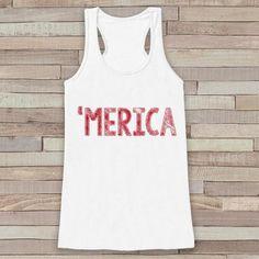 Merica Tank Top - 'Merica Fourth of July Tank - Women's 4th of July Outfit - White Flowy Tank - Fourth of July Shirt - American Pride Top - 7 ate 9 Apparel