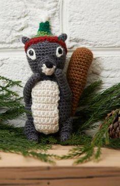 Squirrel Ornament Free Crochet Amigurumi from Red Heart Yarns
