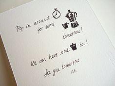 lovely written invitation! coffee invitation stamp set