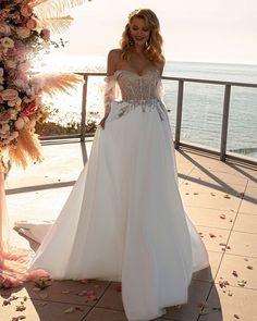 21 Hottest Wedding Dresses 2021 That Are Wow ❤ hottest wedding dresses sweetheart strapless neckline lace top tina valerdi #weddingforward #wedding #bride #weddingoutfit #bridaloutfit #weddinggown