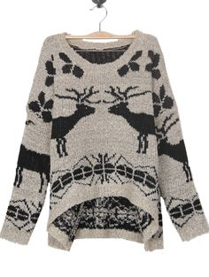 ++ Grey Batwing Long Sleeve Deer Print Sweater