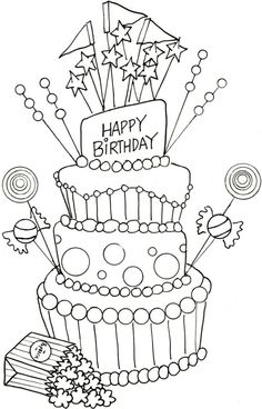 Birthday Coloring Pages | 368x236