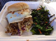 pulled pork sandwich and kale salad from The Boneyard Food Truck in San Francisco