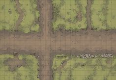 The Country Road, a battle map for D&D / Dungeons & Dragons, Pathfinder, Warhammer and other table top RPGs. Tags: road, town, ruins, plains, city, street