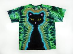 Tie Dye T Shirt Adult Black Cat Green by SunflowerTieDyes on Etsy, $35.00