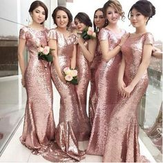 Sequin Short Sleeve Sexy Mermaid Rose Gold Pretty Cheap Long Wedding Party Bridesmaid Dresses, WG78