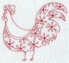 Country Rooster III (Redwork)