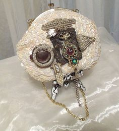 Wedding Steampunk Purse, Beaded Beauty Formal Bag, Haute Evening clutch, One of a Kind by Marelle Couture