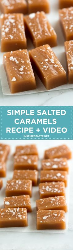 How to make Salted Caramels that are soft, chewy and perfectly melt away in your mouth. Easy recipe + video from inspiredtaste.net / @inspiredtaste