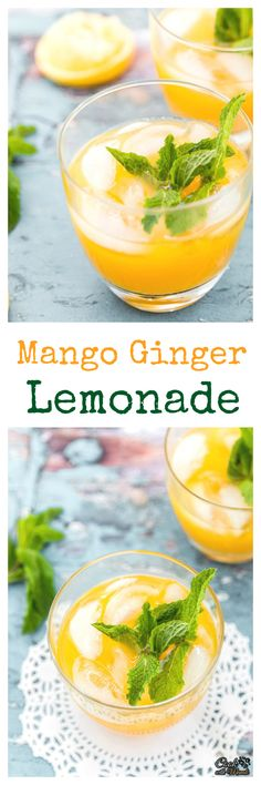 Mango Ginger Lemonade is a refreshing summer drink which can also be made ahead of time!