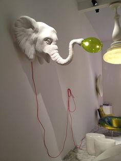 Faux Elephant head wall lamp