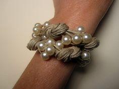 Bracelet linen pearl white fantasy pearl wedding eco by espurna88, €21.20