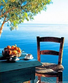 Morning Coffee in Greece Cyprus Tourism, Beautiful World, Beautiful Places, Beautiful Sky, I Need Vitamin Sea, Pause Café, Outdoor Furniture Sets, Outdoor Decor, Outdoor Life