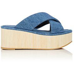 Robert Clergerie Women's Ficeb Denim Platform Slide Sandals (€155) ❤ liked on Polyvore featuring shoes, sandals, blue, strap sandals, criss cross strap sandals, blue strappy sandals, blue denim sandals and criss cross sandals