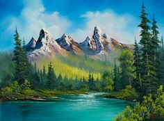 bob ross wild country paintings