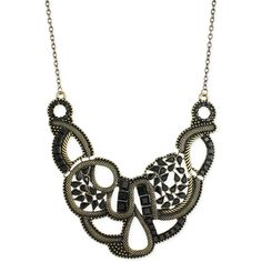 ZAD Antique Gold Black Jewel Bib Necklace - Beyond the Rack ❤ liked on Polyvore