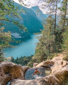 Natural Pool (Königssee, Bavaria, Germany - Woman World Cup Beautiful World, Beautiful Places, Travel Around The World, Around The Worlds, Beaches In The World, Germany Travel, Germany Europe, Bavaria Germany, Wanderlust Travel