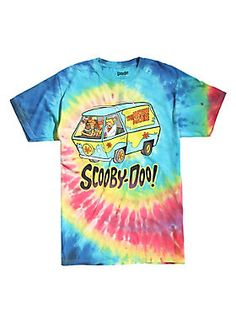 Would you do it for a Scooby Snack? Hell yeah, you would! Get in the van and go on a mystery adventure with Fred, Daphne, Velma, Shaggy and Scooby in this rainbow tie dye T-shirt