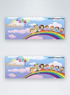 cartoon happy children's day facebook banner cartoon children,happy childrens day,childrens day,facebook cover, social media banner, rainbow#Lovepik#template