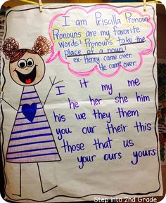 Pronouns anchor chart and great You Tube video explaining pronouns. From: Step into Grade with Mrs. 2nd Grade Grammar, 2nd Grade Ela, 2nd Grade Writing, 2nd Grade Classroom, 2nd Grade Reading, Classroom Fun, Second Grade, Grade Spelling, Classroom Resources