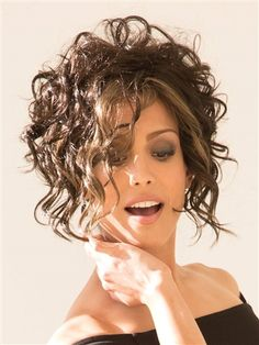 Capless Wavy Short Brown Synthetic Bob Wigs, one of the most popular wigs for years running and for good reasons.A best quality wig from WIGSIS. Lob Hairstyle, Curly Bob Hairstyles, Short Curly Hair, Short Hair Cuts, Wedding Hairstyles, Curly Hair Styles, Pretty Hairstyles, Bridal Hairstyle, Rene Of Paris Wigs